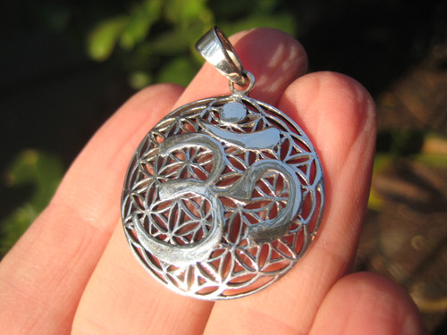 925 Silver Ohm Spiritual Symbol Pendant Necklace Thailand Jewelry art A7