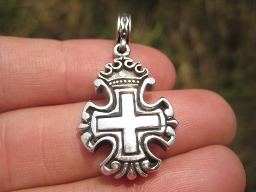 925 Silver Christian Cross Knights Templar  Crown Cross Pendant necklace A22