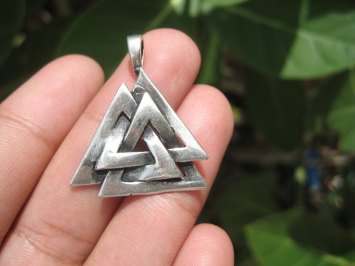 925 Silver Viking Norse Valknut Triquetra  Pendant Necklace A13