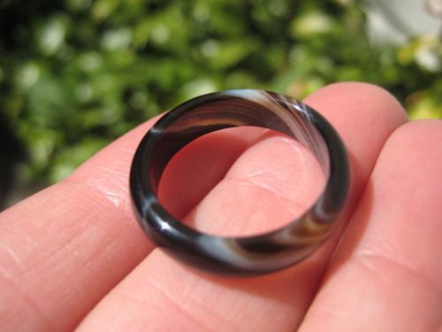 Natural Black Agate Ring Thailand Jewelry Art Size 7.25 US A9