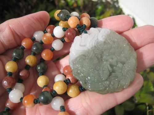 Natural Jadeite Jade Dragon Pendant Necklace Amulet  A799