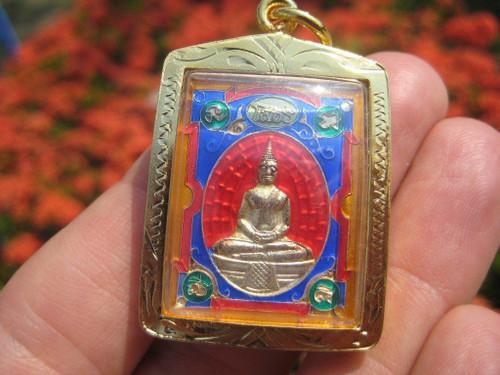 Shakyamuni Buddha metal Thailand Buddhist amulet A34