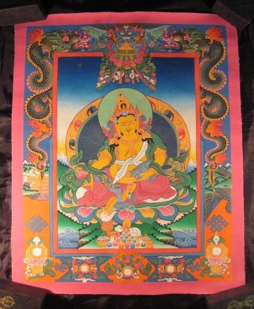 24 K  Jambhala Deity Thangka Thanka Painting Nepal art dragon border