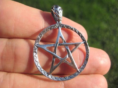 925 Sterling Silver Wicca Pentagram Pendant Necklace jewelry art A38