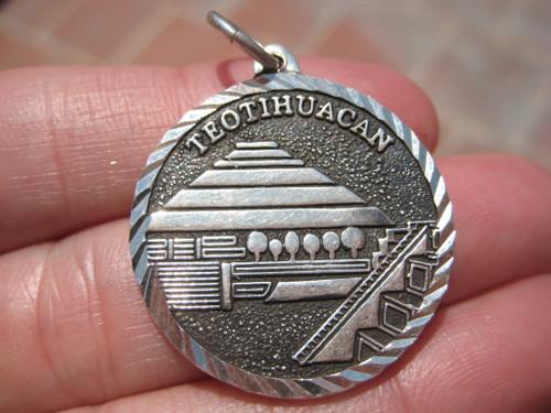 950 Silver Teotihuacan Toltecs Pendant Necklace Taxco Mexico A205