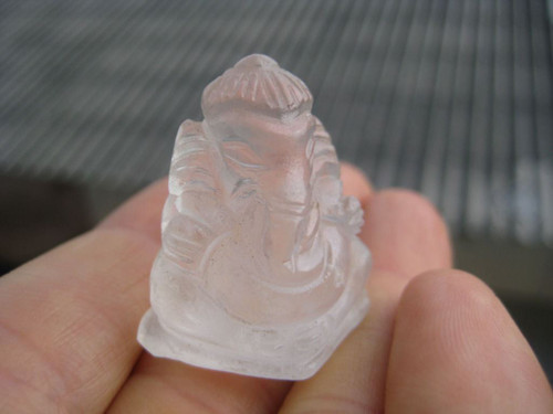 Natural Quartz  Stone  Lord Ganesh  deity stone Carving crystal art  A33