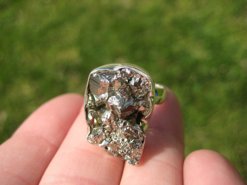 925 Silver Natural  Pyrite Stone Ring Taxco Mexico Size 7.25US adjustable A3967