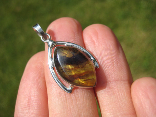 925 Silver Natural Chiapas  Amber Pendant Necklace Taxco Mexico Jewelry Art A19