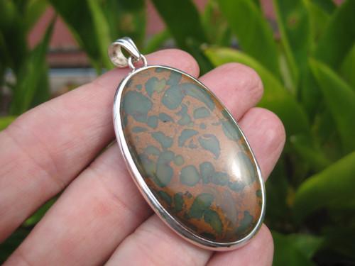 925 Silver Natural Ocean Jasper Stone Pendant Necklace Jewelry Art E57257