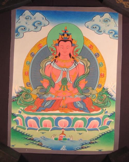 Mixed gold Pink Shakyamuni Buddha Thangka Thanka painting Nepal Art A22