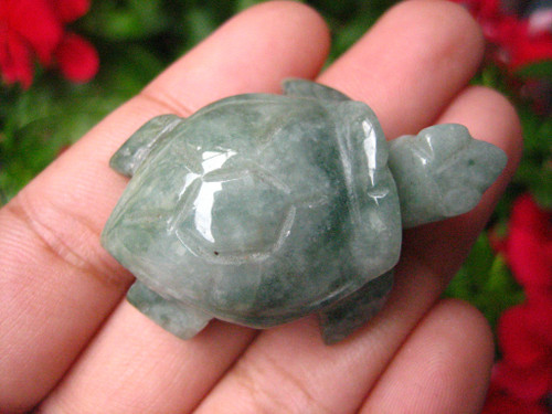 Natural Jadeite Jade Green and White Turtle  Carving Statue Myranmar  EB402