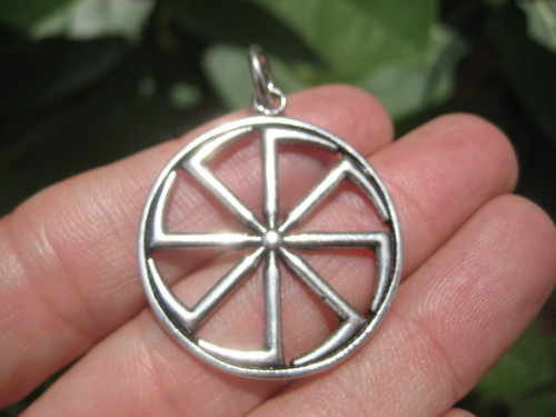 925 Silver Black Sun Wheel Sonnenrad Viking Germanic Pendant Necklace A10