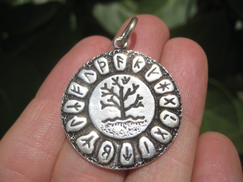 925 Silver Viking Runes Tree of Life Pendant Necklace A20