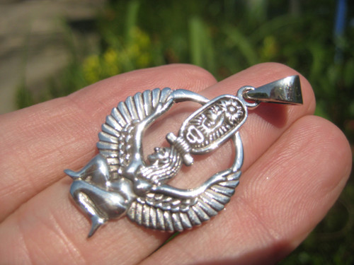 925 Silver Isis Egyptian Goddess Atum Ra Enhead of Heliopoli A22