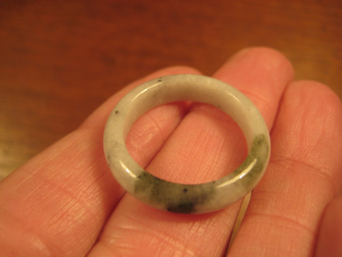 Natural Jadeite Jade Ring Myanmar Jewelry Stone Carving Size 9.75 US A965