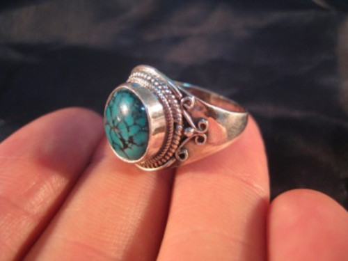 925 Silver Tibetan Turquoise stone Ring jewelry Nepal Size 6.75 US A887