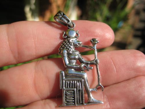 925 Silver Egyptian Bird God Horus God Deity Ankh Cross Pendant necklace A21