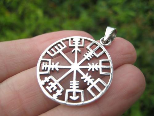 925 Silver Viking Norse Trident Aegishjalmr Aegishjalmur Helm of Awe Pendant  Image 1