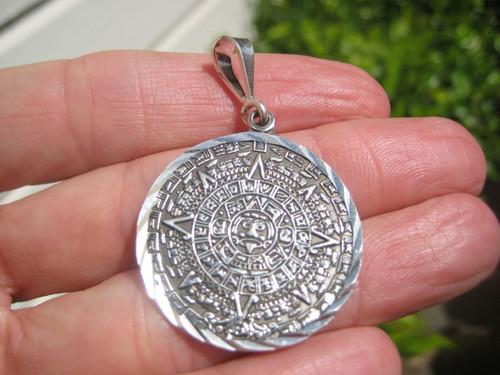 950 Silver Mayan Calendar Authentic Taxco Mexico Pendant Necklace A39866
