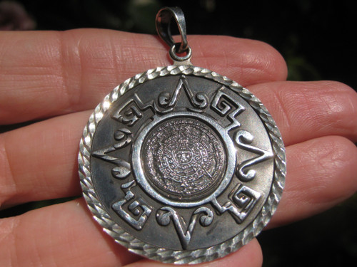 950 Silver Mayan Calendar Pendant Necklace Taxco Mexico A3732