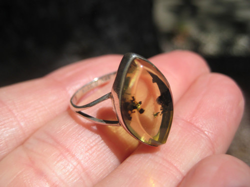 925 Silver Chiapas Amber Ring Taxco Mexico Size 7.75 US  A3454