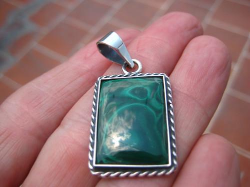 .925 Silver Malachite Stone  pendant, Taxco, Mexico A8654