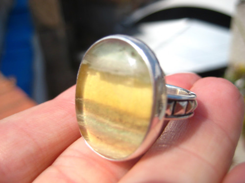 .925 silver ring Fluorite Size 6.5 , Taxco , Mexico, US A27988