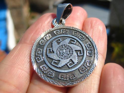 925 Silver Mayan Calendar Pendant Taxco Mexico A89268