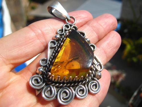 925 Silver Pendant Amber Necklace Taxco Mexico A2948