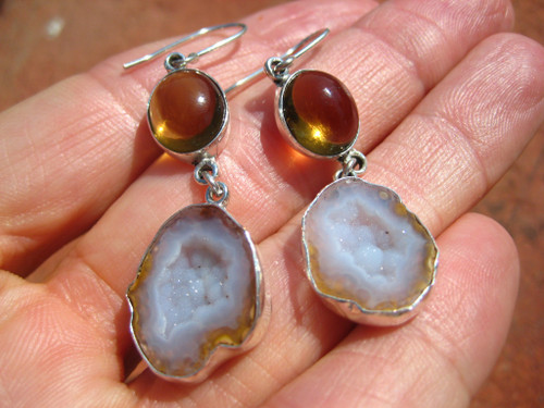925 Silver Agate Geode Amber Earrings Taxco Mexico A8466