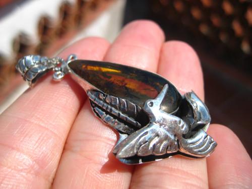925 Silver Chiapas Amber Bird Pendant Taxco Mexico A4877