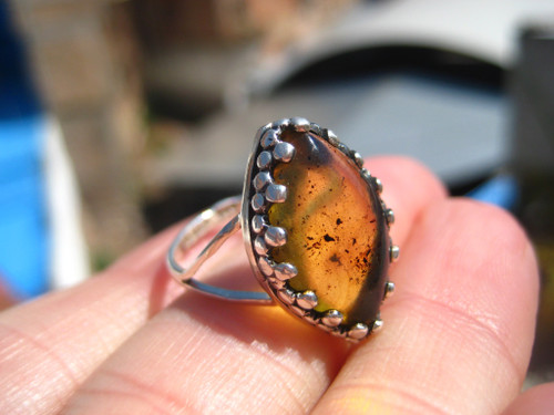 925 Silver Chiapas Amber Ring  Size 6.5 US Taxco Mexico A2664
