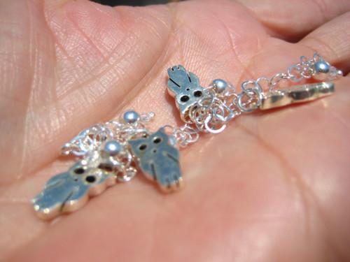 925 Silver cute Owl Charm Bracelet Taxco Mexico A3744