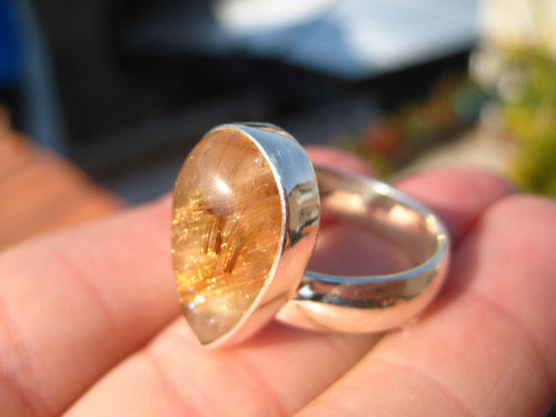 925 Silver Rutile Quartz Ring Taxco Mexico Size 7.5 US Adjustable