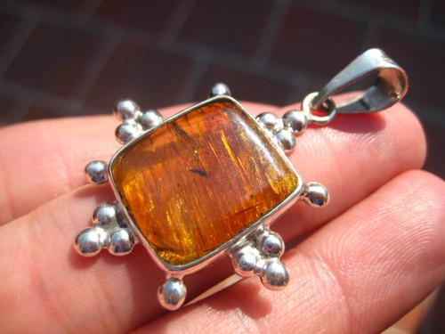 925 Silver Chiapas Amber Pendant Necklace A2766