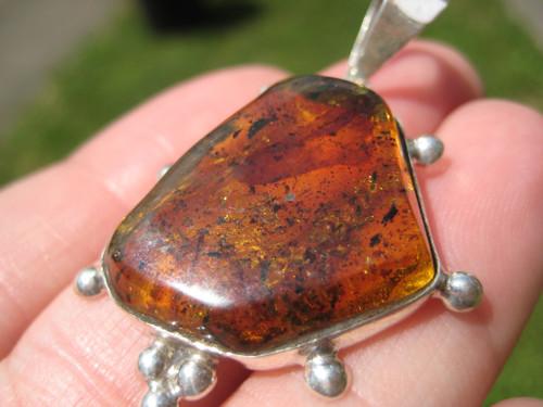 925 Silver Chiapas Amber Pendant Necklace Taxco Mexico A26211