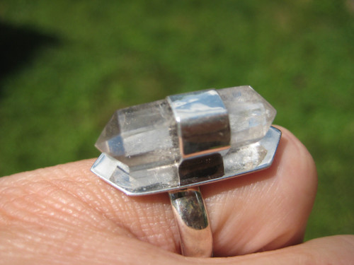 925 Silver Double Terminate Quartz Crystal Ring Taxco Size 6 US Adjustable A624
