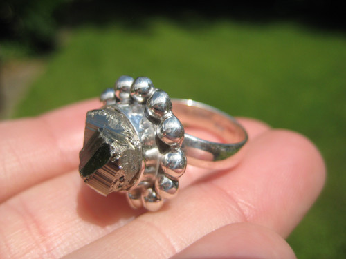925 Silver Pyrite Stone Crystal Ring Taxco Mexico Size 6 US Adjustable A6376