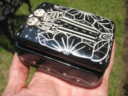 Skull Skeleton Ceramic Jewelry  Box  Day Of The Dead Taxco Mexico A27568