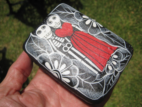 Skull Skeleton Ceramic Jewelry  Box  Day Of The Dead Taxco Mexico A27566