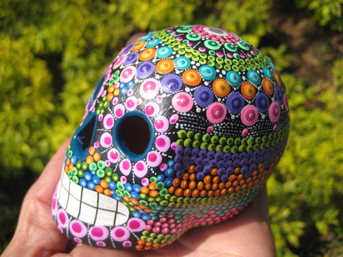 Ceramic Skull Day Of The Dead Statue Painting Pinta Agua Art Taxco Mexico A2732