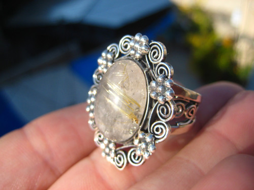 925 Silver Golden Rutile Quartz Ring Taxco Mexico Size 7 A6385