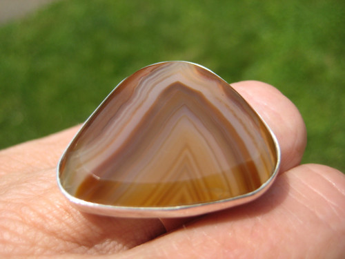 925 Silver Natural Agate Ring Taxco Mexico Size 7 Adjustable A2864