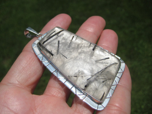 Large 925 Silver Black Rutile Quartz Pendant Necklace Taxco Mexico A2116