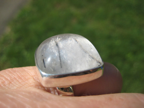 925 Silver Natural Black Rutile Quartz Ring Taxco Mexico A2856