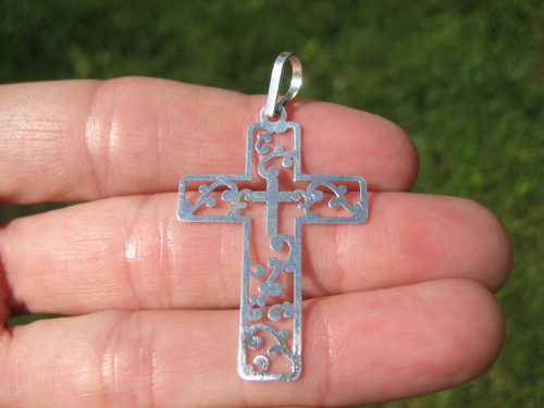 925 Silver Christian Cross Taxco Mexico A2749