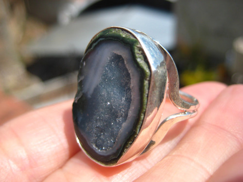 925 Silver Natural Agate Geode Ring Size Taxco Mexico 8.25 US A5937