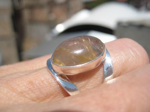 925 Silver Golden Rutile Quartz Ring Taxco Mexico Size 8 Adjustable A569