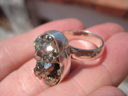 925 Silver Pyrite Ring Taxco Mexico Size 7.5 ( 6.5-8.5 ) Adjustable A678