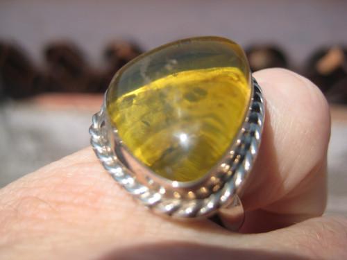 925 Silver Chiapas Natural Amber Ring Taxco Mexico UN604